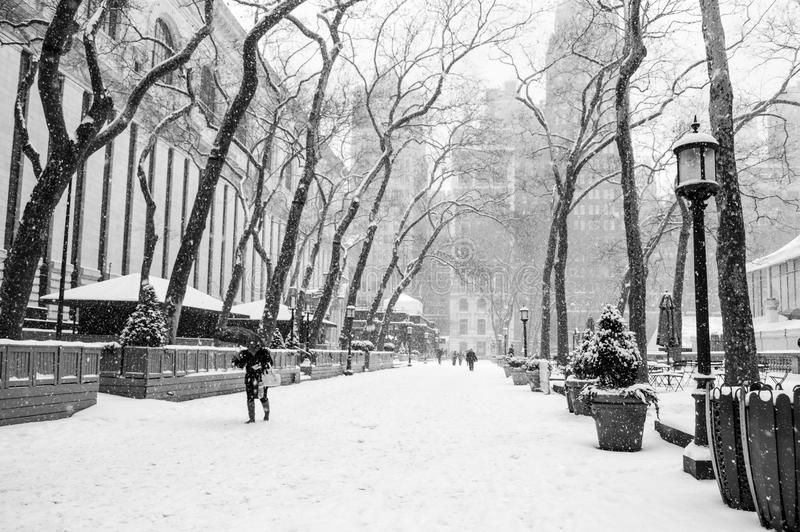 Snowing Bryant Park. Bryant Park in black and white during a recent snow storm stock photography
