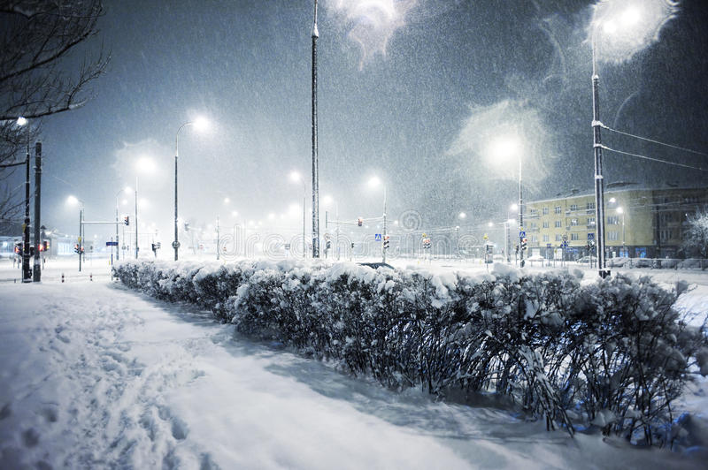 Download Snowing in the city stock photo. Image of cityscape, light - 14337608