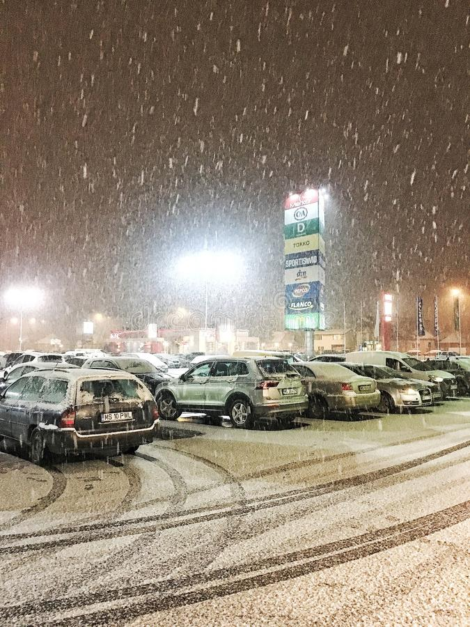 Snowing in the evening royalty free stock images