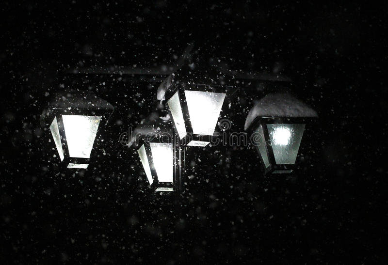 Download Snowing January Night.street Chandelier Lights Stock Image - Image: 83700937