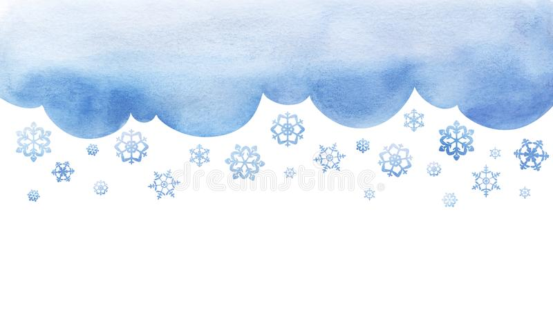 Snowing. Large snowflakes are falling. cutout background template with winter sky. Large flakes of snow. Big lught watercolor royalty free stock photos