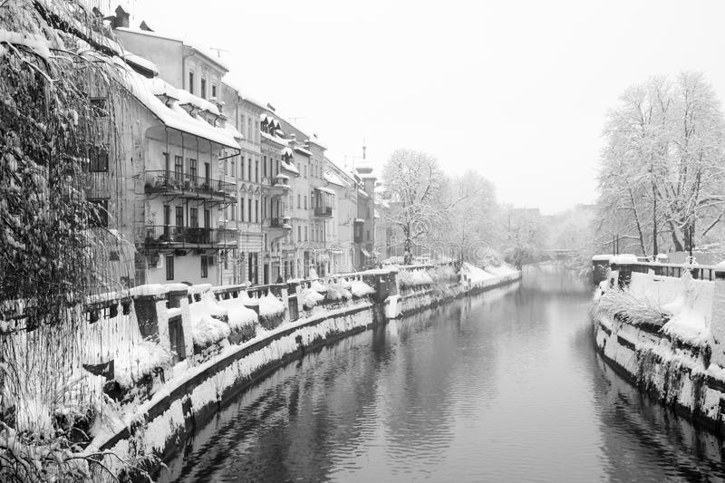 Download Snowing in Ljublana stock image. Image of mystical, city - 18389043