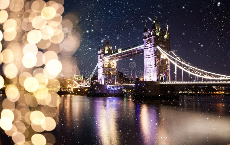 snowing in London, UK - winterholidays in the city stock photo