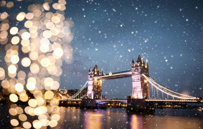 snowing in London, UK - winterholidays in the city royalty free stock image