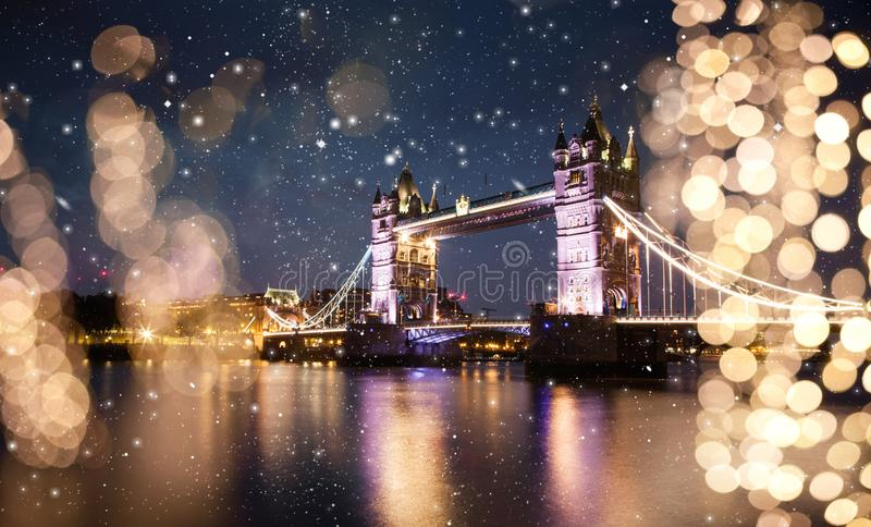 snowing in London, UK - winterholidays in the city stock photography
