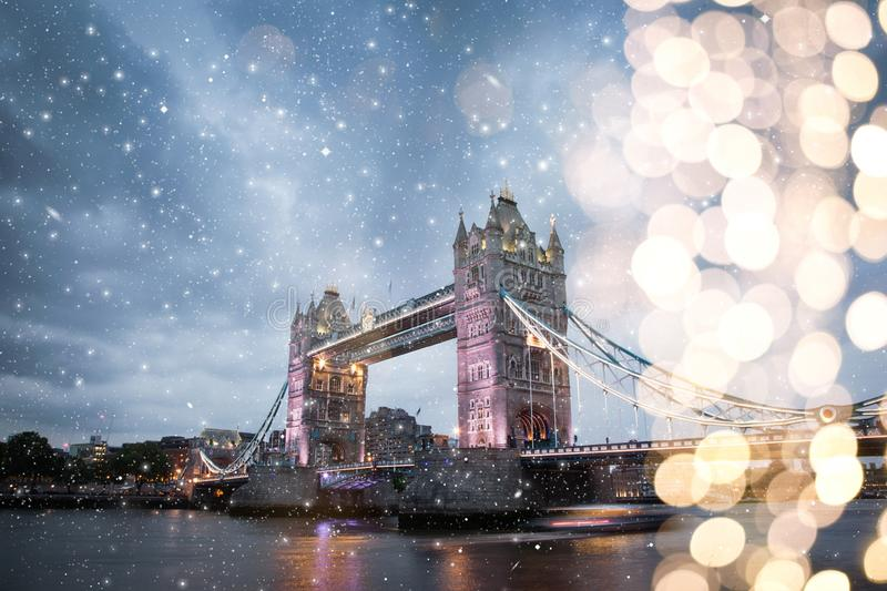 snowing in London, UK - winterholidays in the city royalty free stock photography