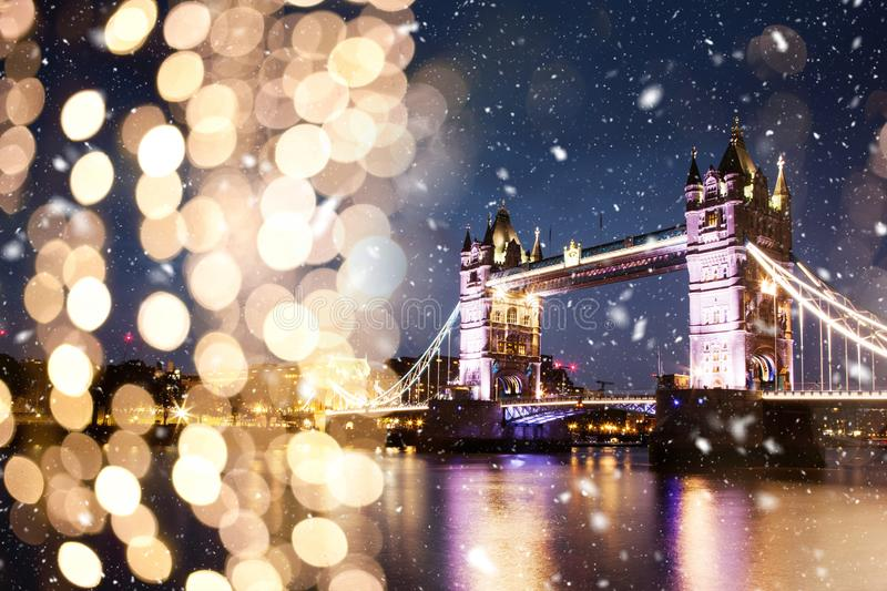 snowing in london - winter in the city royalty free stock photos