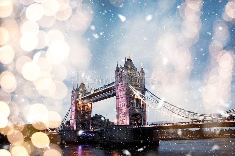 snowing in london - winter in the city royalty free stock image