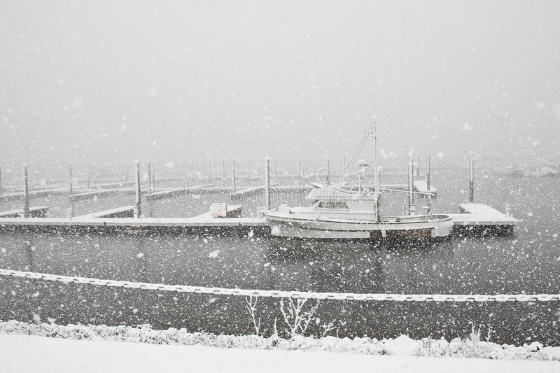 Download Snowing at the Marina stock image. Image of boating, whiteout - 18496783