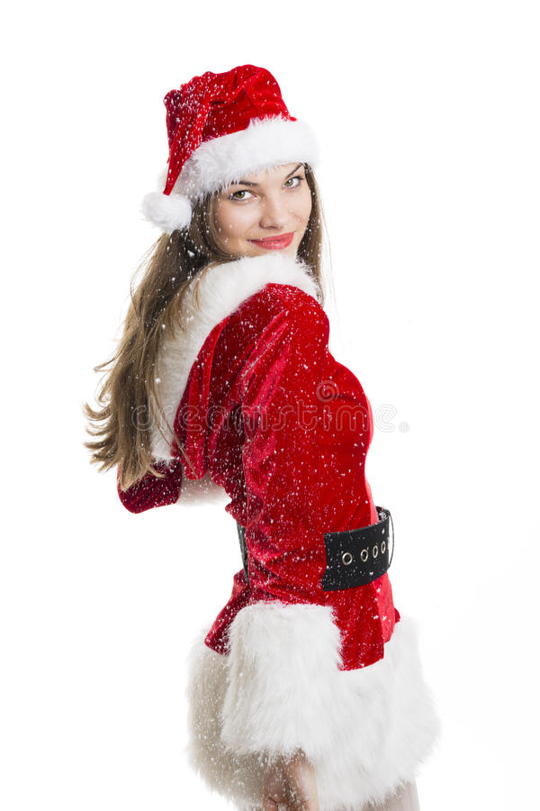 Snowing over Santa girl royalty free stock photography