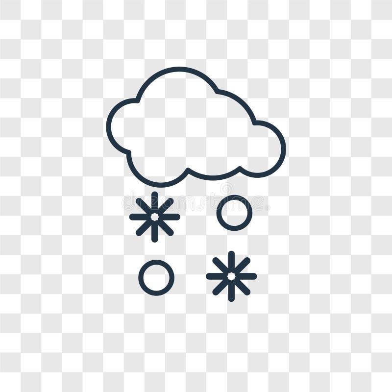 Snowing pojęcie wektorowa liniowa ikona odizolowywająca na przejrzystym backg royalty ilustracja