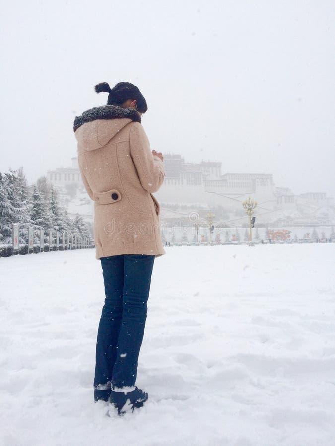 snowing at tibet potala palace stock photography