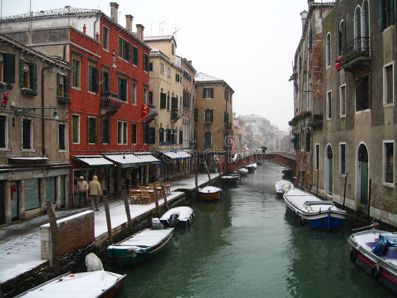 Snowing In Venice - Italy Editorial Stock Photo