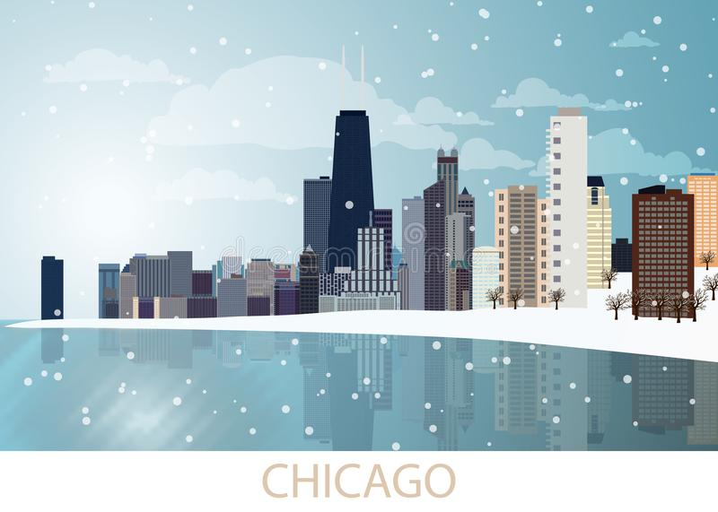 Snowing Winter Panorama of Chicago city with skyscrapers, frozen lake Michigan, Willis Tower, trees, snowflakes and blue sky and s stock illustration