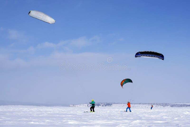 Snowkitersrit op een de winter duidelijke dag door de sneeuwvlakte royalty-vrije stock foto