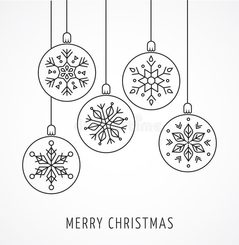 Snowlakes, geometric Christmas ornaments, background. Snowlakes, geometric line art Christmas ornaments, background royalty free illustration