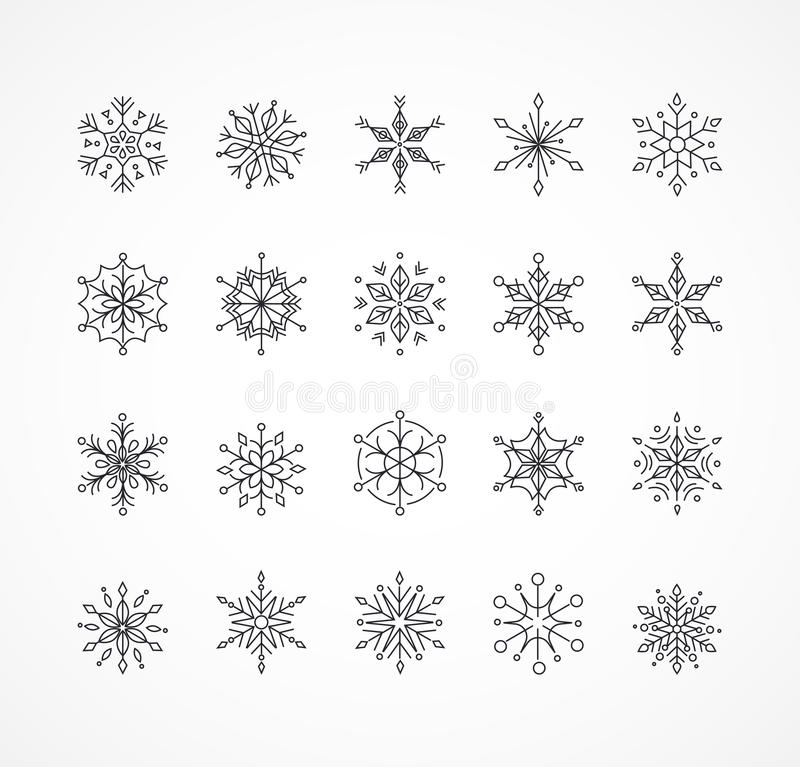 Snowlakes set, geometric Christmas pattern and background. Snowlakes, geometric line art Christmas ornaments, pattern and background royalty free illustration
