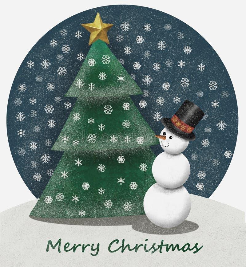 Snowlandscape capriccioso con il px dell'albero di Natale 4000 e del pupazzo di neve illustrazione di stock