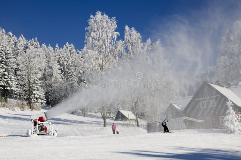 Snowmaking royalty free stock photo
