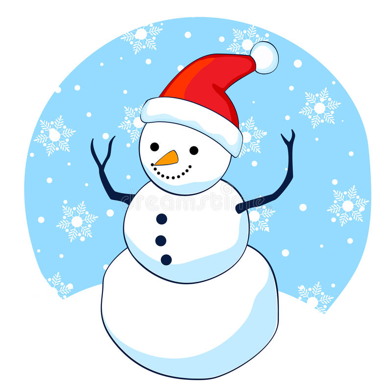 Snowman. Cute smiling snowman with red santa hat on falling snowflakes background royalty free illustration