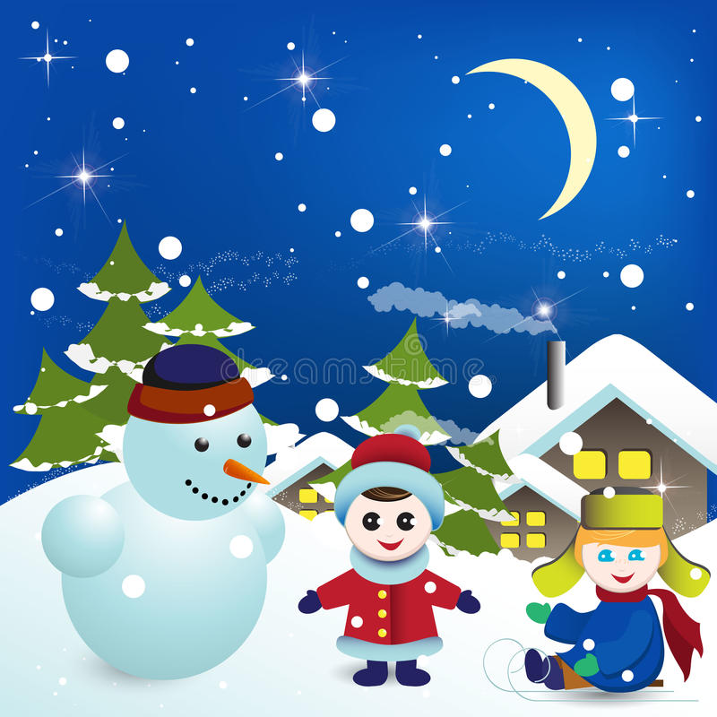 Download Snowman stock vector. Image of flight, play, claus, landscape - 16348462