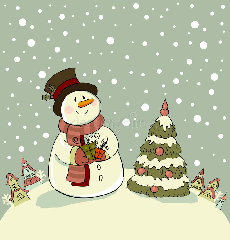 Snowman. With gifts beside christmas tree stock illustration
