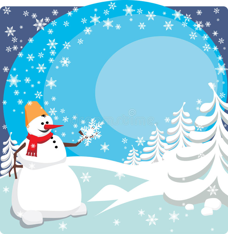 Snowman. The snowman holds the big snowflake in a hand stock illustration