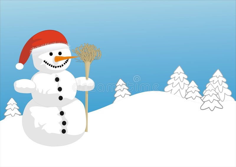 Snowman. The snowman is outdoor with red hat royalty free illustration