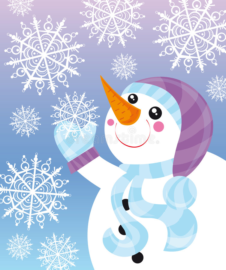 Snowman. Illustration of snowman and snowflakes