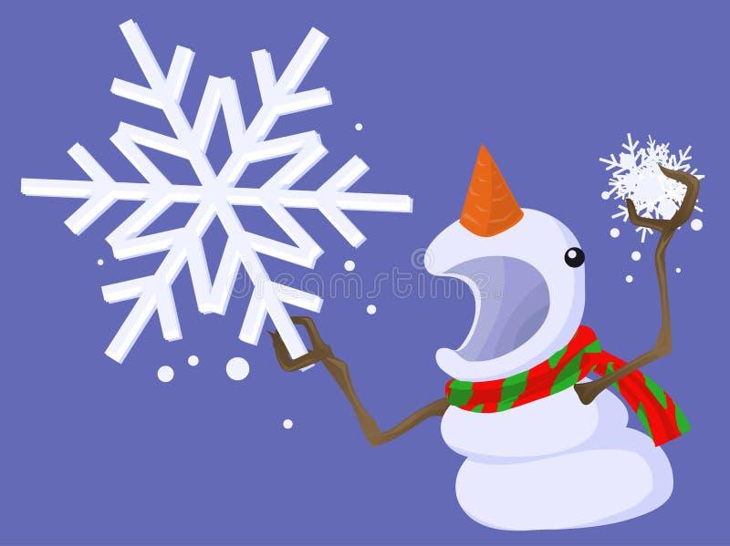 Snowman Angry Cartoon stock illustration