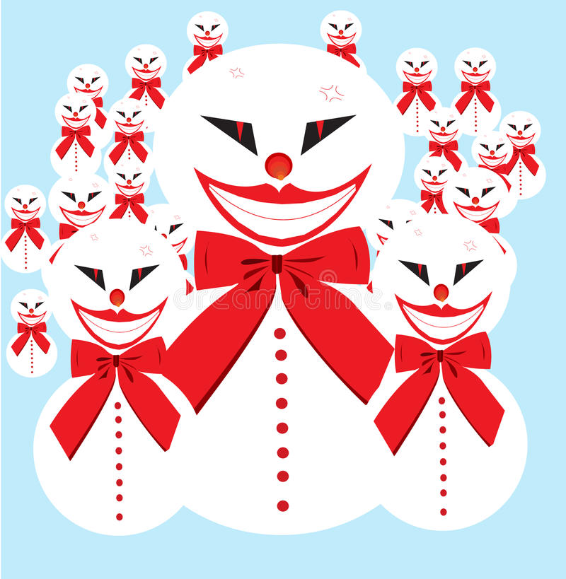 Snowman army royalty free stock photo