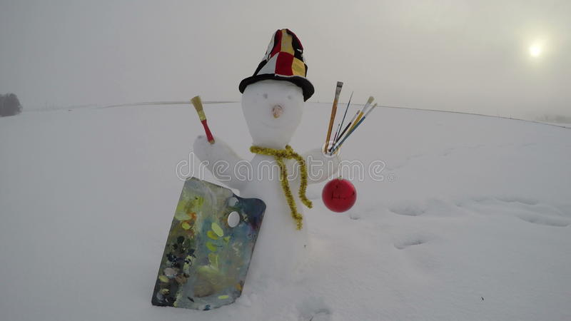 Snowman Artist With Painter Brush And Colorful Palette On Field Time Lapse 4k Stock Footage Video Of Snowball Palette 87570184