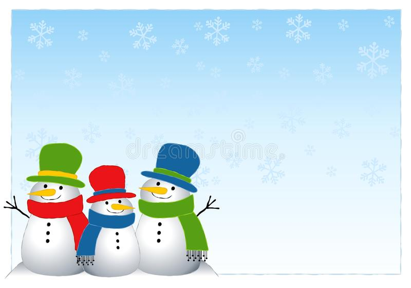 Snowman Background. An illustration featuring snowmen set against a blue and white snowflake background stock illustration