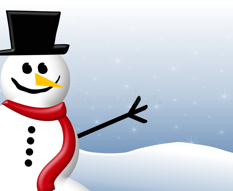 Snowman Background. A border illustration featuring a smiling snowman set against blue with snowflakes stock illustration