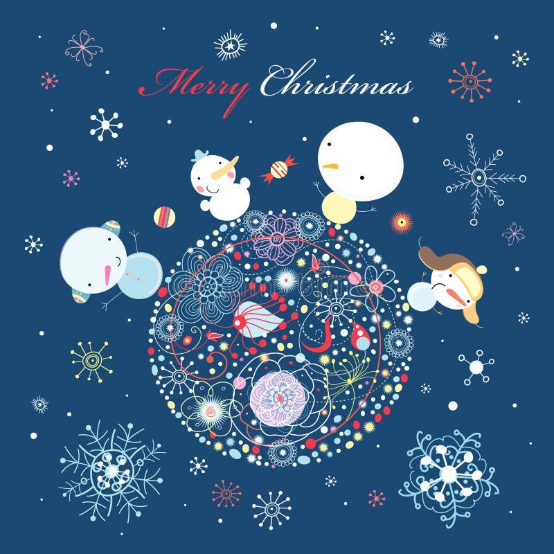 Snowman on the ball vector illustration