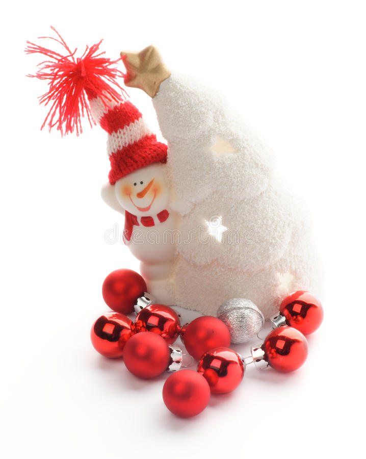Download Snowman and Baubles stock image. Image of snowman, closeup - 27830215