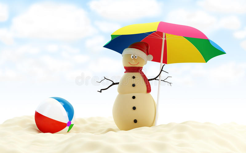 Snowman on a beach stock illustration