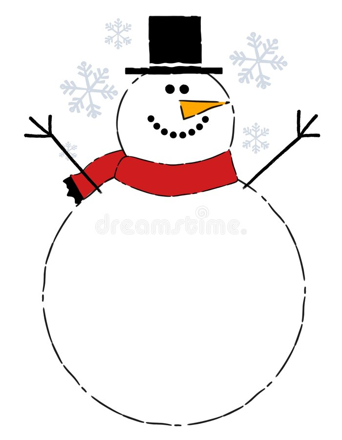 Snowman Belly Background. A clip art illustration featuring a simple snowman with large belly meant as an are for text or other content stock illustration