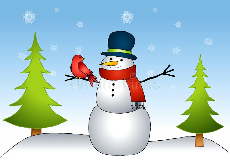 Snowman Bird Friends. An illustration featuring a snowman sitting in the snow with a little red bird sitting on his stick arm stock illustration