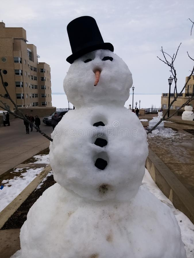 Snowman with black buttons, carrot nose, black hat and hands of dry branches stock photos