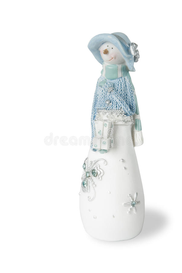 Download Snowman in the blue hat stock photo. Image of winter - 28136190