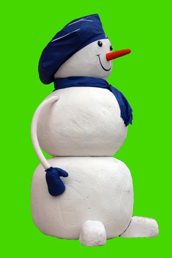 A snowman in a blue hat royalty free illustration