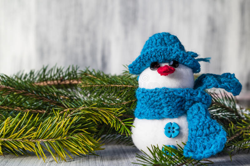 Snowman Board Wooden Christmas Winter Plush Royalty Free Stock Photography