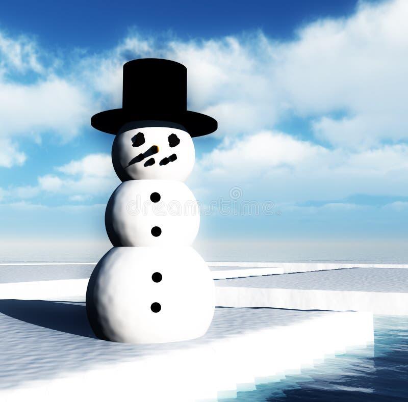 Snowman On Broken Ice Stock Photography