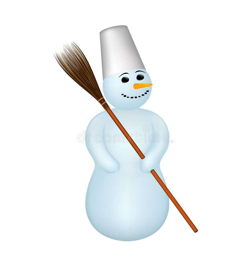 Snowman with a broom