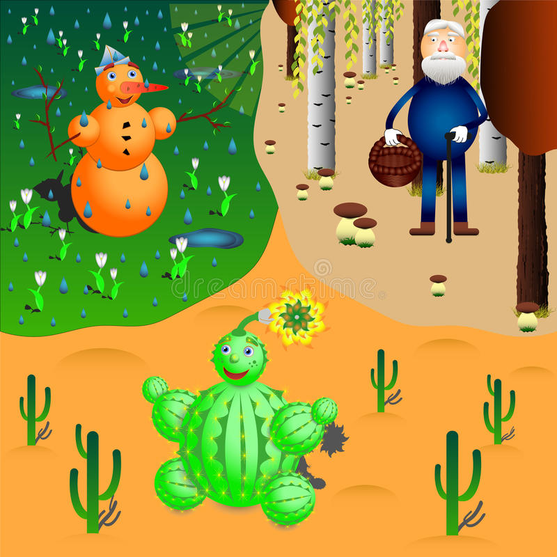 Snowman, cactus and oldman in different seasons and weathers royalty free stock images