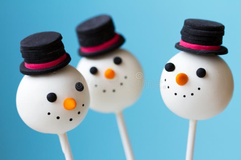 Snowman cake pops stock image