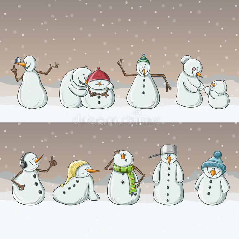 Snowman cartoon characters, standing in row in snowfall for Christmas. Various snowman cartoon characters, standing in row in snowfall. Cute vector illustration stock illustration