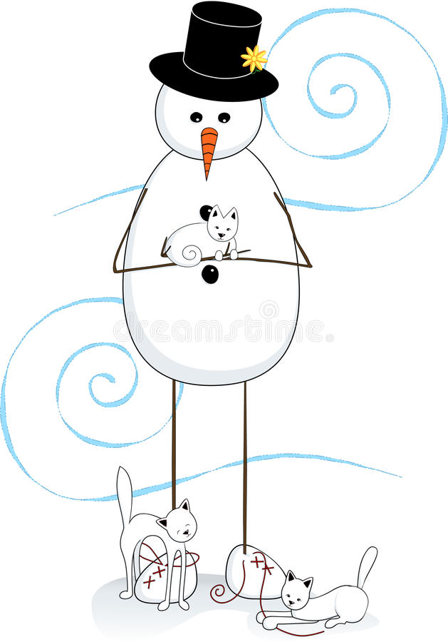 Snowman & Cats Royalty Free Stock Photography
