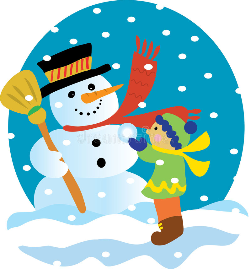 Snowman and Child. A snowman and little boy in the snow royalty free illustration